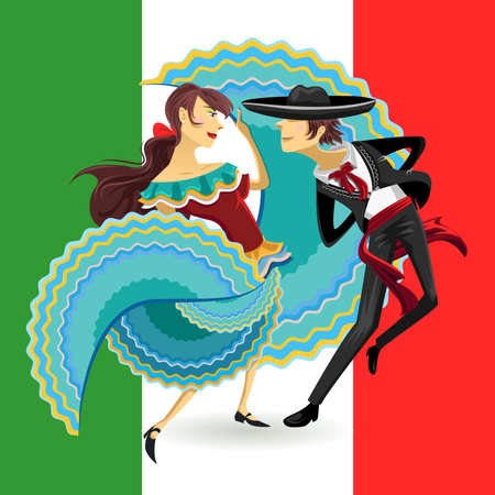 Jarabe Mexico National Dance Mexican Hat Dance Stock Illustratie