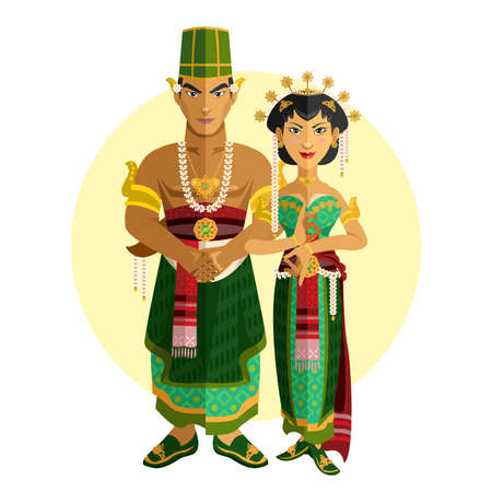 indonesia: Indonesian Central Java Wedding Ceremony Illustration Of Indonesian Coupe, Having Traditional Central Java Indonesia Wedding Ceremony Illustration