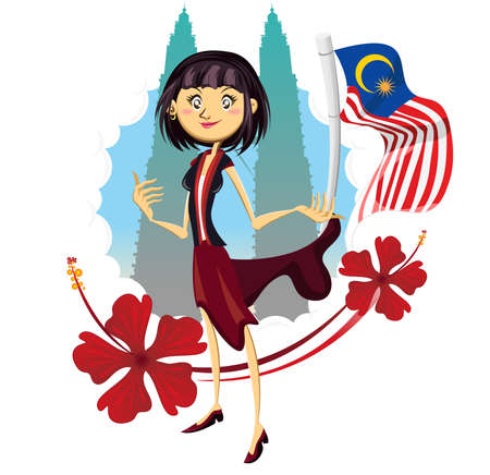 malaysia: Tourism in Malaysia Truly Asia Illustration Woman Standing At Petronas Tower Represented Tourism in Malaysia Truly Asia Illustration