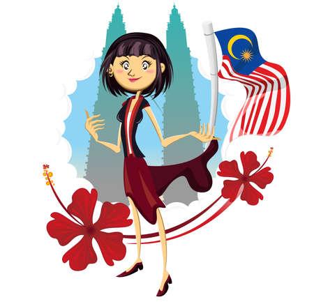 turismo: Turismo in Malesia Veramente Illustrazione Asia donna in piedi al Petronas Tower Rappresentato Turismo in Malesia Truly Asia Illustrazione