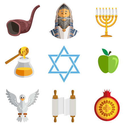 jews: Icons Of Jewish New Year Rosh Hashana , Feast Of Trumpets Shofar , Traditional Holiday Illustration
