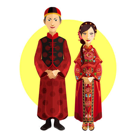 casamento: Casamento chinês Outfit Cerimónia de casamento Ilustração
