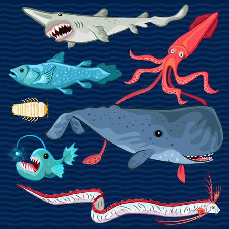 Illustration Of Fish Of The Deep Blue Sea Collection Set Contains sperm whale, oarfish, coelacanth, giant isopod, goblin shark, colossal squid, anglerfish