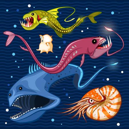 Fish Of The Deep Blue Sea Collection Set 02  Illustration of monsters of the deep blue sea collection set 02 . Contains viperfish, dragonfish, gulpereel, nautilus  dumbo squid 向量圖像