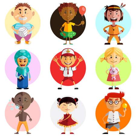 世界の子どもたちの幸せな子供の日のイラスト図を祝う世界子供の日