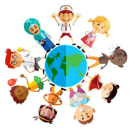 ni�os estudiando: Feliz D�a del Ni�o Ilustraci�n Ilustraci�n de ni�os de todo el mundo celebran el D�a Mundial de la Infancia Vectores