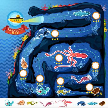 submarino: Deep Sea Exploración del tesoro juego Mapa Vectores