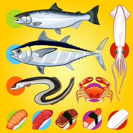 日本の寿司の魚刺身寿司刺身のイラストと魚は、サーモン、マグロ、カニ、イカのスシですうなぎを含まれています。