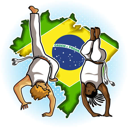 footwork: Brazilian People Playing Capoeira Martial Arts in Brazil Illustration