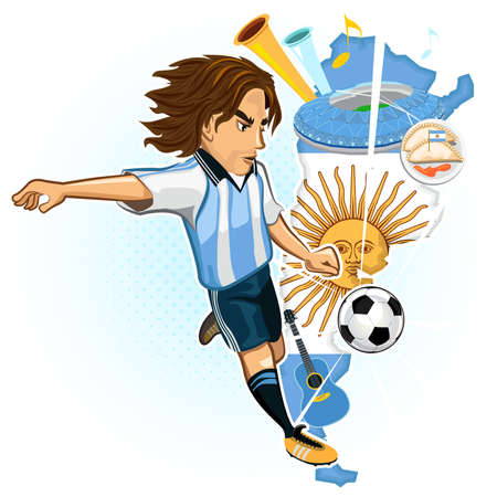 kick ball: Argentine Argentina Soccer Cup Argentines Soccer Player Kick Ball With Background Of Map And Culture Of Argentina Illustration