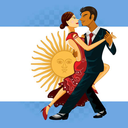 Tango Dance Couple Performing an Argentines Tango Dance 向量圖像