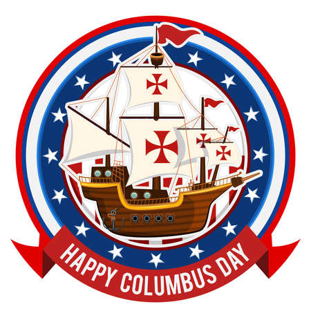 christopher columbus: Happy Columbus Day Glossy Shiny Columbus Day Emblem Icon With Background Of Voyager Ship