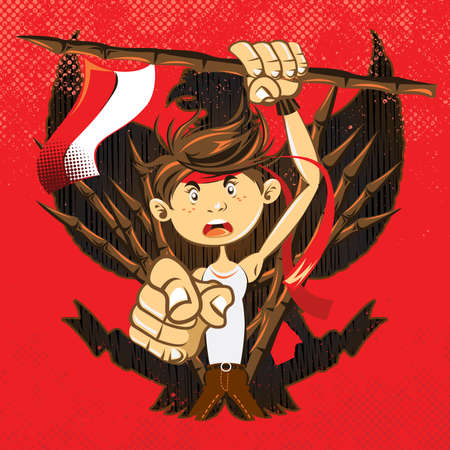 Indonesian National Heroes Patriot Warrior Illustration