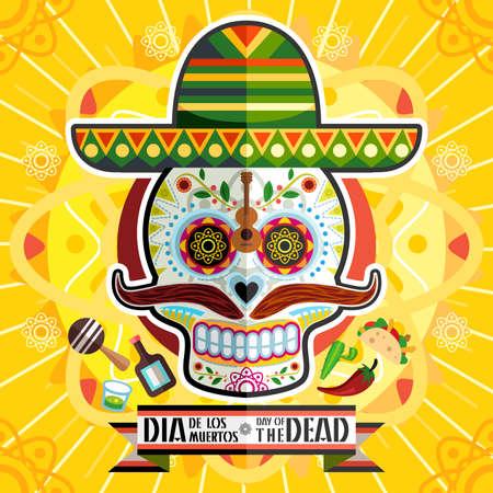 carnaval: Dia de los Muertos jour du crâne mort Illustration