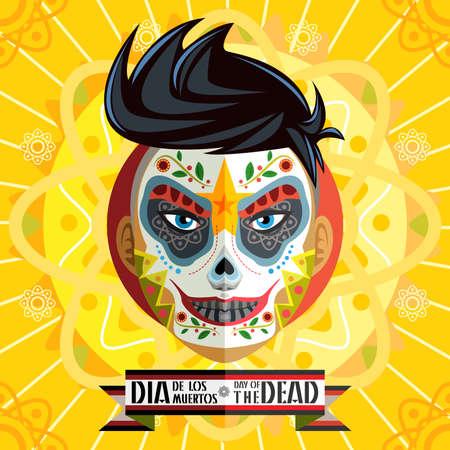 Dia De Los Muertos Day Of The Dead Skull Face Painting Illustration
