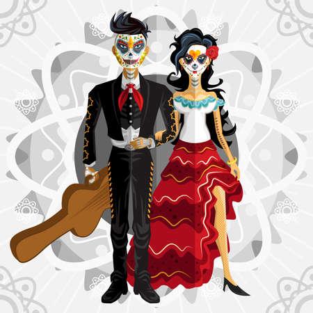 ragazza innamorata: Dia de los Muertos Giorno dei Morti Sposa Vettoriali