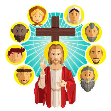 catholic: All Saints Day Illustration Vector Illustration