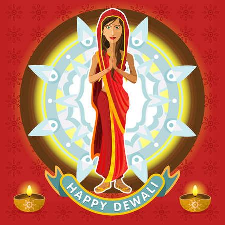 光のインド Dewali ディーパバリ祭りを祝うサリー服を若いインド人女性
