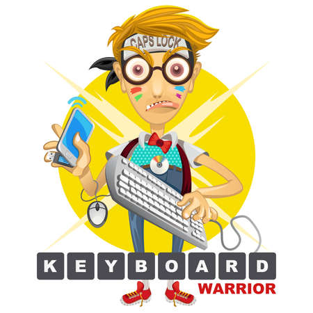 computer keyboards: Cyberbully Nerd Geek Keyboard Warrior illustration