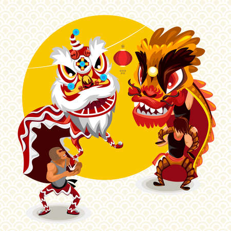 lion dance: Chinese Lunar New Year Lion Dance Fight Illustration