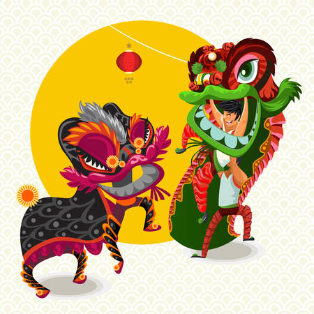 chinese new year dragon: Chinese Lunar New Year Lion Dance Fight Illustration