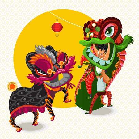 Chinese Lutte Nouvel An lunaire Danse du Lion Banque d'images - 52482909