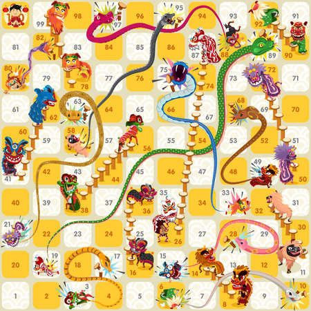 snakes and ladders: Snake and Ladder Board Game Chinese New Year Vector