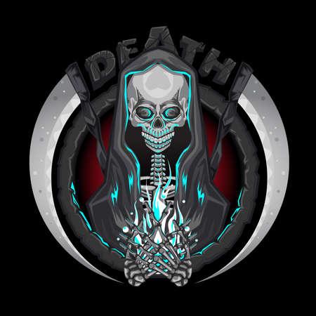 鎌のエンブレムのロゴを保持している人間の魂と死スケルトン死神文字  イラスト・ベクター素材