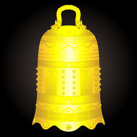 Chinese golden bell artifact vector illustration