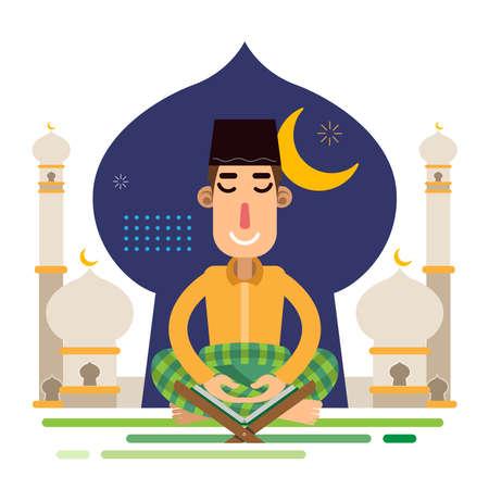 Muslim Man Sholat Praying Alquran with background of Mosque celebrating Eid al Fitr Mubarak