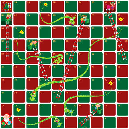 Snakes and Ladders Game Christmas version. Little Santa's helper holding gift and Grinch stole it. Cartoon style. Vector Illustration.