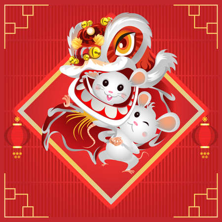 Happy Chinese New Year 2020. The year of the mouse. Lion dance. Vector illustration 向量圖像