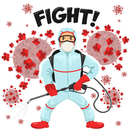 Man wearing protective medical suit to fight Covid-19 coronavirus from Wuhan epidemic