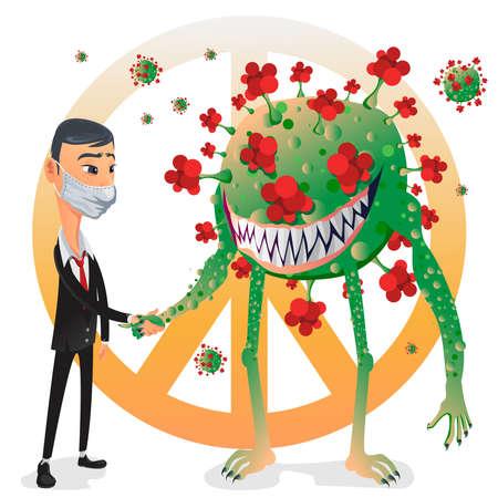 World leader Man handshake and make peace and coexist with Covid-19 Corona Virus 向量圖像