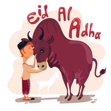 Man petting a cow for sacrifice celebrating Eid al adha. Happy Eid al Adha Mubarak. Selamat Idul Adha 向量圖像