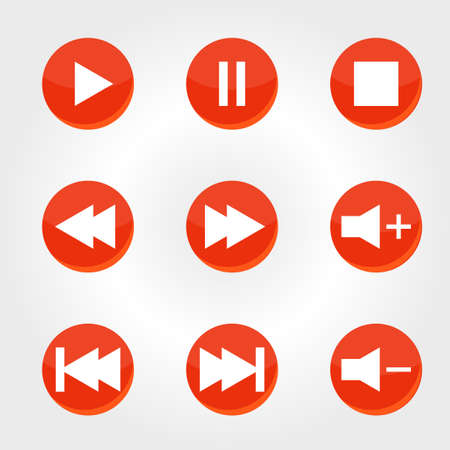 audio player: red icons with audio player buttons. vector illustration Illustration