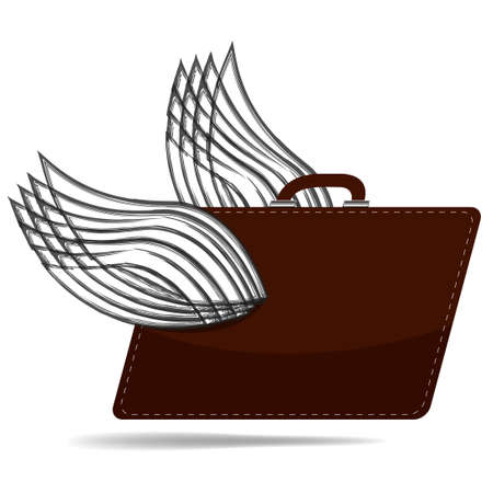 wings vector: old brown suitcase with the wings. vector illustration