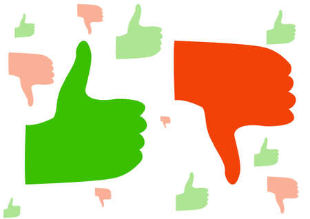 disapprove: green and red hand symbol with a thumb up and down. vector illustration