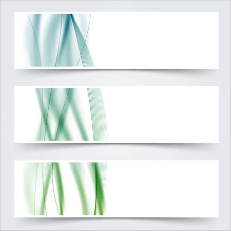 blue green header footer wave swoosh lines banner set. vector illustration Vector