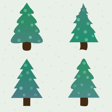 firtrees: green blue spruce decorated new year fir-trees collection set. vector illustration