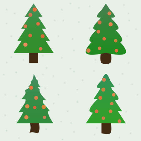 firtrees: green spruce decorated new year fir-trees collection set. vector illustration
