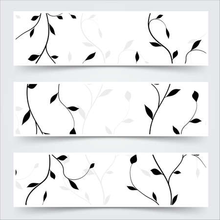 black and white header footer branches leaves banner set. vector illustration Vector