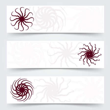 rojo oscuro: rojo sostenido ex�ticas formas de ara�a espiral estrella tribales oscuros header banner set pie de p�gina. ilustraci�n vectorial