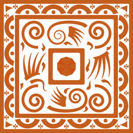 primordial: tribal ornament background with squares ans spiral swirls. vector illustration