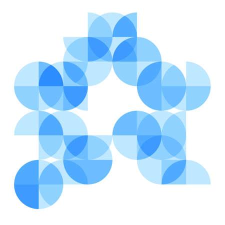 sectores: Fondo geom�trico abstracto con brillantes segmentos y sectores de c�rculo azul. ilustraci�n vectorial Vectores