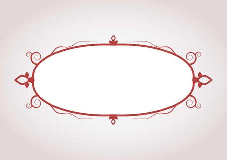 signboard form: elegant dark red blank frame with symbolic decoration. vector illustration Illustration