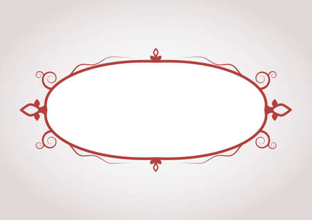 elegant dark red blank frame with symbolic decoration. vector illustration Illustration