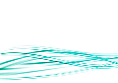turquoise blue green lined flowing swoosh waves. vector illustration Illustration
