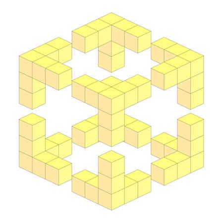 yellow block: yellow three-dimensional geometrical block illusion made of cubes. vector illustration
