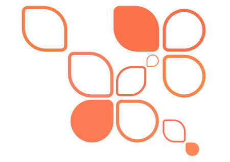 round corner: orange round corner petal elements chaotic pattern. vector illustration